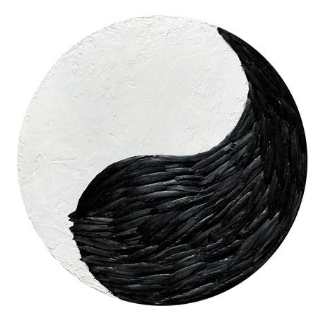 "The painting ""Contrast. Yin-Yang"" is the second from the collection ""Feathers"". The yin yang shows a balance between two opposites with a portion of the opposite element in each section.  The feathers are real. They are securely glued to the canvas."