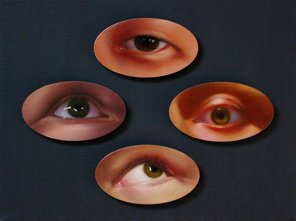 """It is proposed to reflect on the topic: """"The All-Seeing Eye"""" - the embodiment of everything that does not allow us to live in peace, excites and even torments us. What is it? Media influences? Psychological complexes? That which seems to pursue unceasingly is a conscience that does not give rest for any action; fear of the security services controlling all our actions; or it may feel that someone (close or not) knows your secret.  Realistically made eyes are like some wordless observers. They just look. And almost do not express emotions, because they should not give an assessment of what they saw, their purpose is only to observe. Man himself determines the assessment of his behavior, the assessment of himself. But at the same time he knows about the invisible spy who sees everything as real."""